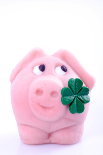 四葉のクローバー「'Lucky pig with four-leafed clover, close-up'」:スマホ壁紙(12)