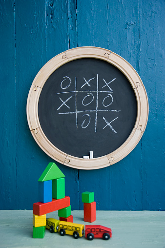 Chalk - Art Equipment「Chalkboard, toy train, toy blocks, tic tac toe」:スマホ壁紙(4)