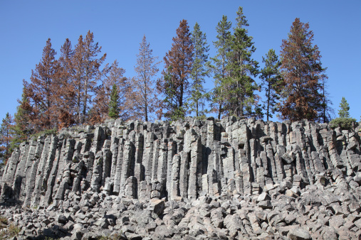 Basalt「Basalt Columns formed by cooling lava, Yellowstone National Park, Wyoming.」:スマホ壁紙(3)