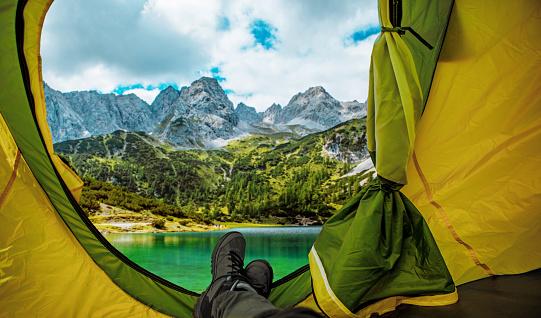 Austria「Beautiful Austrian countryside landscape view seen from inside a tent」:スマホ壁紙(16)