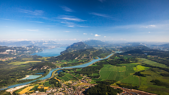 Lake Bourget「Beautiful aerial view French summer landscape viewed from Grand Colombier summit in middle of Bugey mountains in Ain department, with Rhone river, vibrant green fields and Lake Bourget in Savoie」:スマホ壁紙(10)