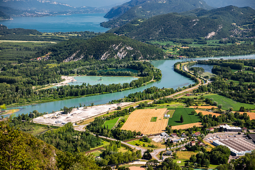 France「Beautiful aerial view French summer landscape viewed from Grand Colombier summit in middle of Bugey mountains in Ain department, with Rhone river, vibrant green fields and Lake Bourget in Savoie」:スマホ壁紙(17)