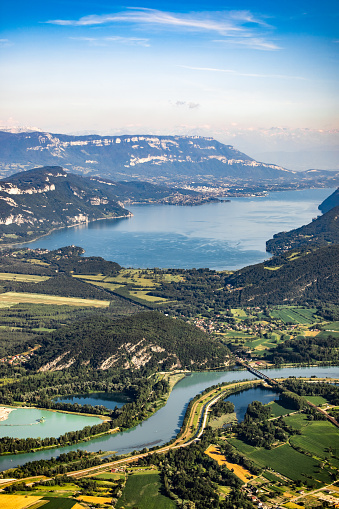 Lake Bourget「Beautiful aerial view French summer landscape viewed from Grand Colombier summit in middle of Bugey mountains in Ain department, with Rhone river, vibrant green fields and Lake Bourget in Savoie」:スマホ壁紙(5)