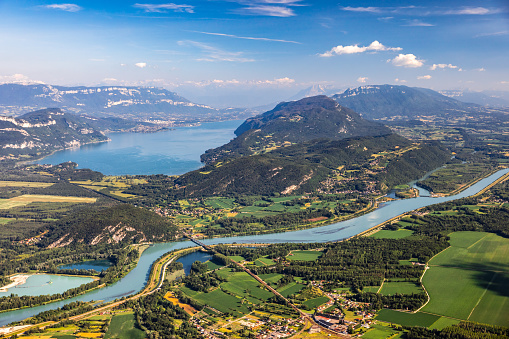 Lake Bourget「Beautiful aerial view French summer landscape viewed from Grand Colombier summit in middle of Bugey mountains in Ain department, with Rhone river, vibrant green fields and Lake Bourget in Savoie」:スマホ壁紙(6)