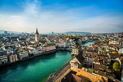 Overcast「Beautiful Aerial View Of Zurich, Switzerland」:スマホ壁紙(2)
