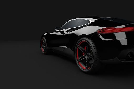 Digital Composite「Black sport car on dark background」:スマホ壁紙(15)