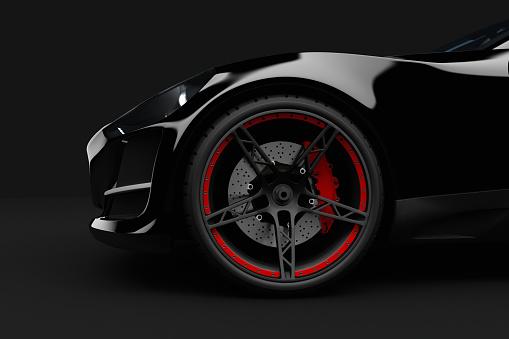 Alloy Wheel「Black sport car on dark background」:スマホ壁紙(0)