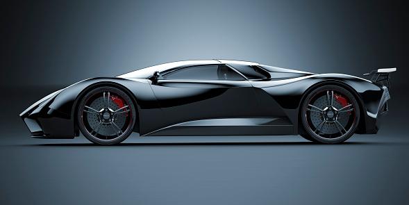 Aerodynamic「Black Sports Car」:スマホ壁紙(9)