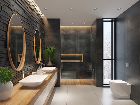 Marbles「Luxurious minimalist bathroom with slate black stone wall」:スマホ壁紙(17)