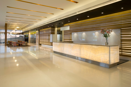 Hotel Reception「Luxurious Modern Lobby With Waiting Area」:スマホ壁紙(1)