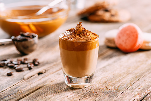 Turkey - Middle East「Delicious Dalgona Coffee on Rustic Background」:スマホ壁紙(4)