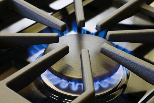 Flame「Natural Gas Stove Burner Appliance with Blue Flame Fire Close-up」:スマホ壁紙(5)