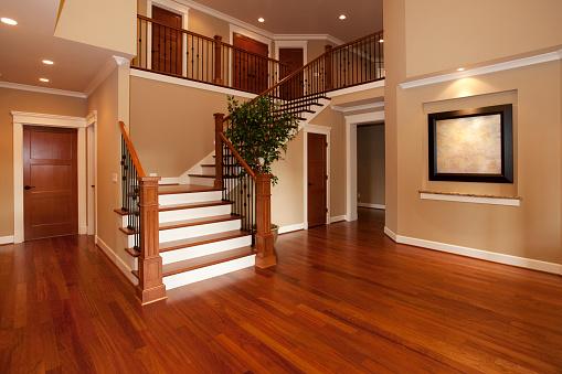Home Interior「new hardwood stairs and floor」:スマホ壁紙(1)