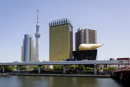 Japan「Impressive Architecture on the Banks of the Sumida River, including Asahi Super Dry Beer Hall and Tokyo Skytree.」:スマホ壁紙(13)