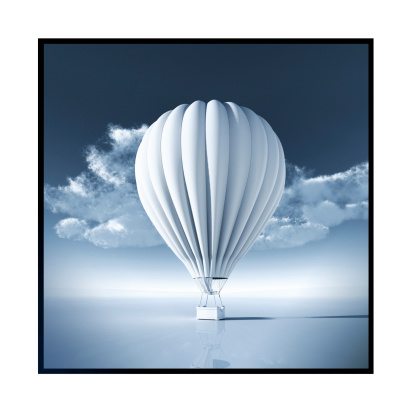 Balloon「White Hot Air Balloon in front of a clear blue sky」:スマホ壁紙(17)