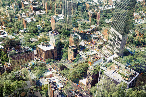 Multiple Exposure「New York aerial view with trees.」:スマホ壁紙(5)