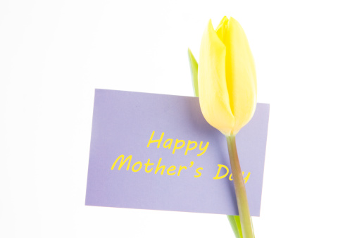 母の日「Beautiful yellow tulip with a mauve happy mothers day card on a white background」:スマホ壁紙(16)