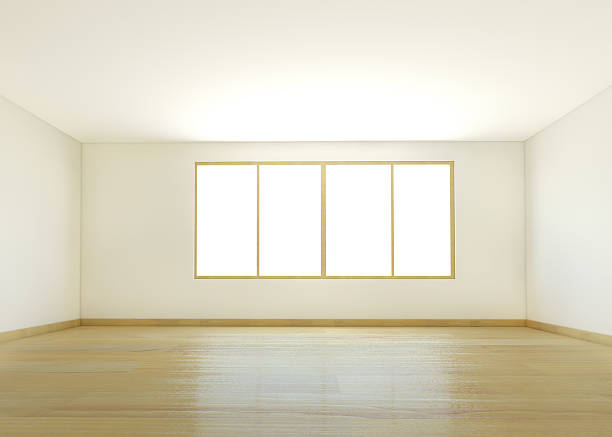 An empty white room with wooden flooring:スマホ壁紙(壁紙.com)