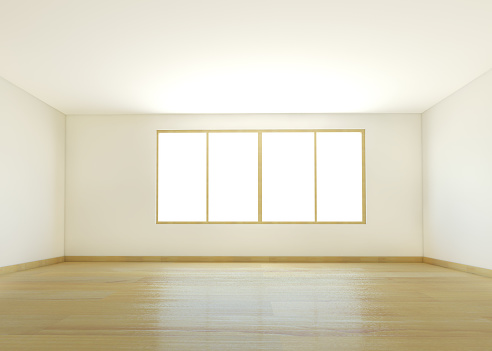Large「An empty white room with wooden flooring」:スマホ壁紙(11)