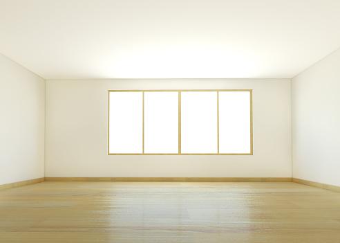 Horizontal「An empty white room with wooden flooring」:スマホ壁紙(13)