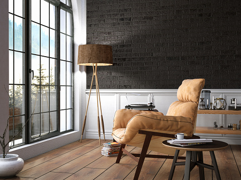 Brick Wall「Interior with Armchair and Books and View」:スマホ壁紙(9)