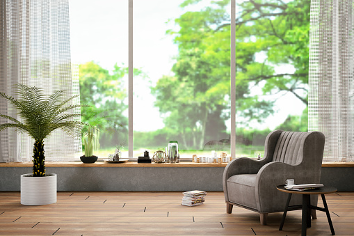 Green Color「Interior with Armchair and Nature View」:スマホ壁紙(13)