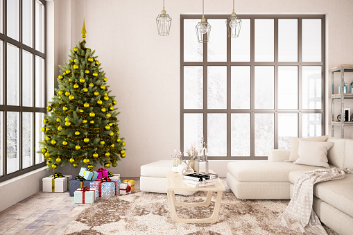 New Year「Interior with Christmas Tree and Gifts. 2019 New Year Concept」:スマホ壁紙(6)