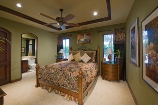 Ceiling Fan「Bedroom interior with ceiling fan」:スマホ壁紙(12)