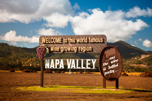 Grape「USA, California, Napa, Welcome sign near vineyard」:スマホ壁紙(4)