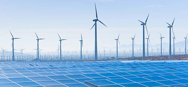 USA, California, Palm Springs, Wind farm and solar panels:スマホ壁紙(壁紙.com)