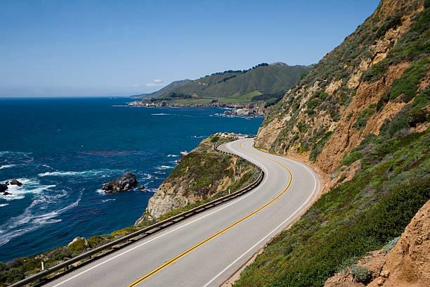 USA, California, Big Sur, Route 1 and coastline, elevated view:スマホ壁紙(壁紙.com)