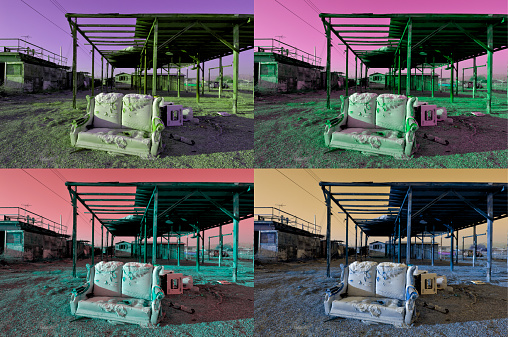 Loveseat「USA, California, Bombay Beach, loveseat and derelict houses (montage)」:スマホ壁紙(2)