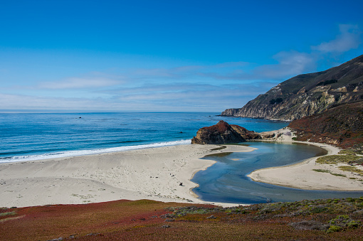 Big Sur「USA, California, Big Sur river flowing out into the Pacific Ocean at Andrew Molera State Park」:スマホ壁紙(11)