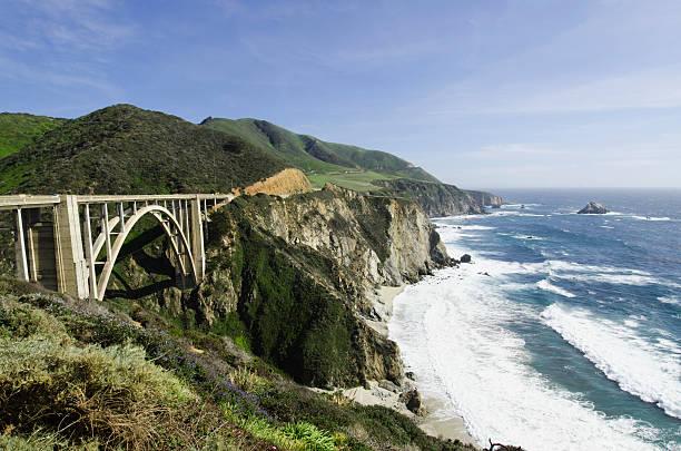 USA, California, Monterey, Big Sur, Coastline with bridge:スマホ壁紙(壁紙.com)