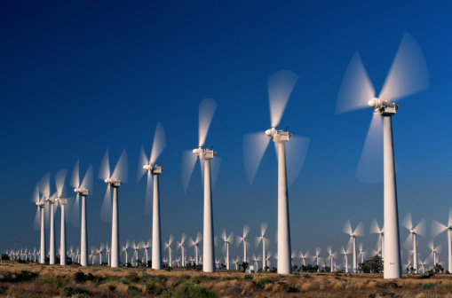 Wind Turbine「USA, California, Altamont, rows of wind turbines」:スマホ壁紙(2)