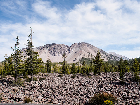 Volcano「USA, California, Lassen Volcanic National Park, Lassen Peak and pine trees」:スマホ壁紙(10)