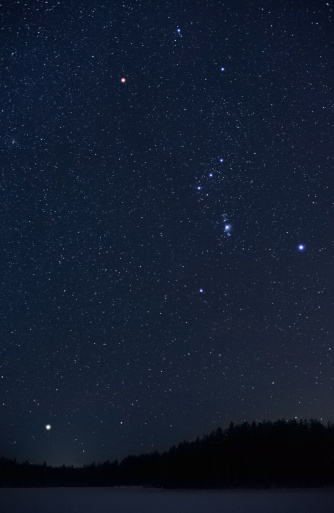 star sky「Orion コンステレーションとシリウスライジング上地平線」:スマホ壁紙(12)