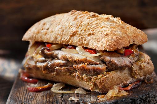 Sirloin Steak「Roast Pork Sandwich with Grilled Peppers, Onions and Grainy Mustard on Ciabatta Bread」:スマホ壁紙(6)