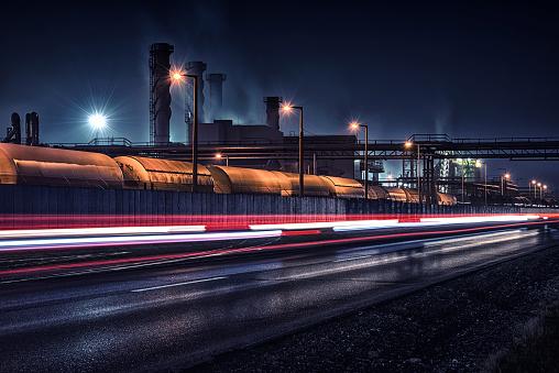 Dividing Line - Road Marking「Night chemical factory」:スマホ壁紙(12)