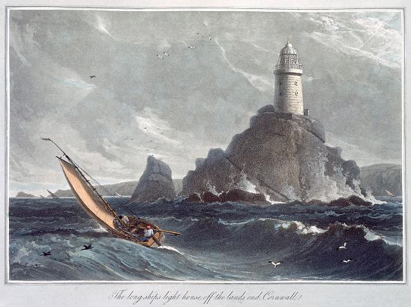 Transportation「The Longships Lighthouse Off The Lands End Cornwall' 1814」:写真・画像(3)[壁紙.com]