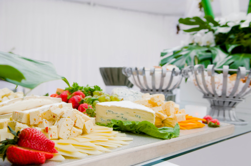 Monterey Jack Cheese「Cheese platter on a table.」:スマホ壁紙(18)