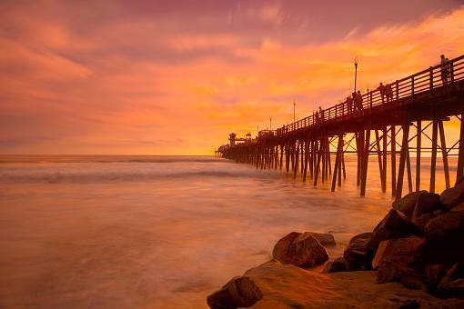 ビーチ「Oceanside Pier Sunset」:スマホ壁紙(9)