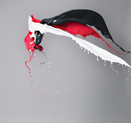 Splashing「Red, white and black paint colliding」:スマホ壁紙(4)
