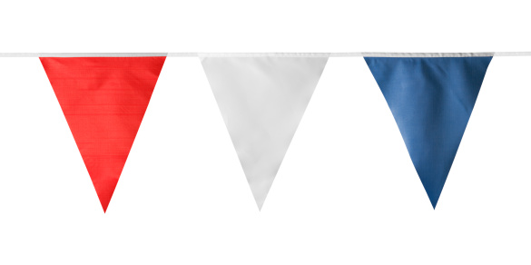 Bunting「Red, white and blue triangular bunting on white background」:スマホ壁紙(3)