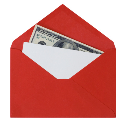 American One Hundred Dollar Bill「Card with Money In Red Envelope」:スマホ壁紙(9)