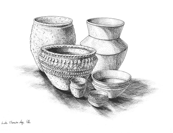 Bowl「Group Of Pots From Late Bronze Age Britain. Artist: Peter Dunn.」:写真・画像(3)[壁紙.com]