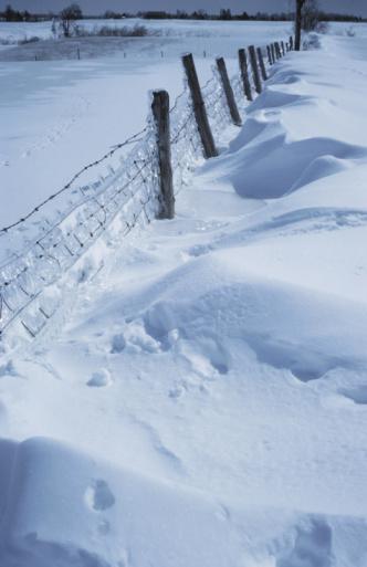 Snowdrift「Fence in rural landscape in winter in Canada」:スマホ壁紙(14)