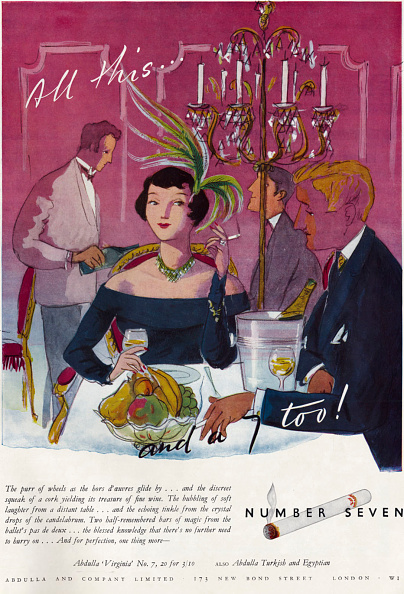 Romance「Abdulla Virginia No. 7 - Cigarette advertisment with an illustration of woman smoking in a restaurant with a man」:写真・画像(2)[壁紙.com]