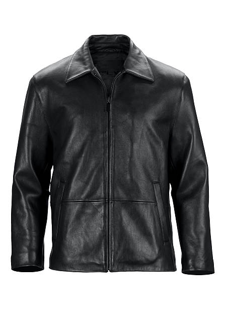 Front of black leather jacket-isolated on white w/clipping path:スマホ壁紙(壁紙.com)