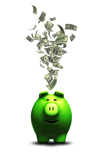 American One Hundred Dollar Bill「Money into Piggy Bank」:スマホ壁紙(12)